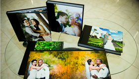 Flush mount coffee table with thick sturdy laminate pages wedding album