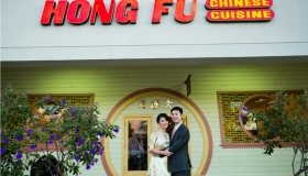 Pre wedding photography at Cypress Hotel in Cupertino reception at Hong Fu Chinese restaurant